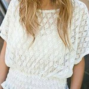 Free People Crochet New Romantics Cinched Top